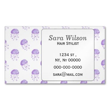 Beach Themed watercolor purple jellyfish beach design magnetic business card