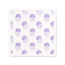 watercolor purple jellyfish beach design napkin