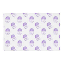 watercolor purple jellyfish beach design placemat