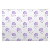 watercolor purple jellyfish beach design placemat