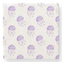 watercolor purple jellyfish beach design stone coaster