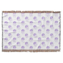 watercolor purple jellyfish beach design throw
