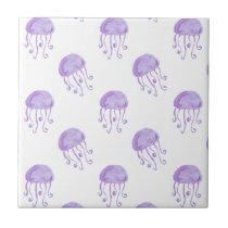 watercolor purple jellyfish beach design tile