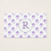 watercolor purple jellyfish business card