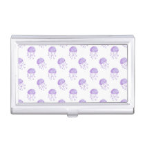 watercolor purple jellyfish case for business cards