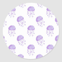 watercolor purple jellyfish classic round sticker