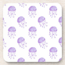 watercolor purple jellyfish coaster