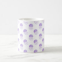 watercolor purple jellyfish coffee mug