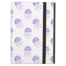 watercolor purple jellyfish cover for iPad air