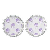 watercolor purple jellyfish cufflinks