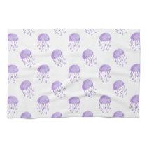 watercolor purple jellyfish kitchen towel
