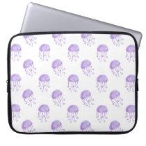 watercolor purple jellyfish laptop sleeve