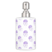 watercolor purple jellyfish soap dispenser & toothbrush holder