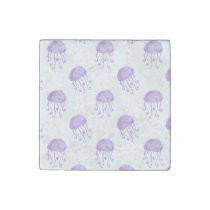 watercolor purple jellyfish stone magnet