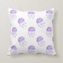 watercolor purple jellyfish throw pillow