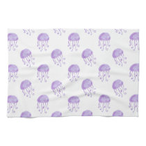 watercolor purple jellyfish towel
