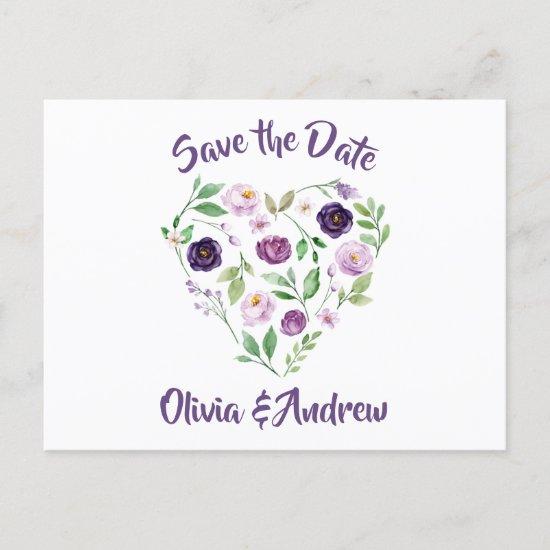 Watercolor Purple & Lavender Roses Save The Date Announcement Postcard