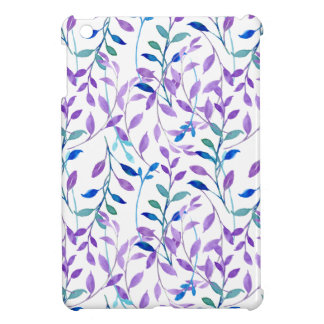 Watercolor Purple leaf Pattern Case For The iPad Mini