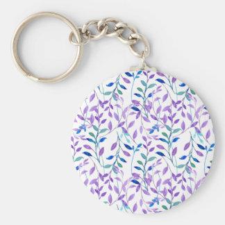 Watercolor Purple leaf Pattern Keychain