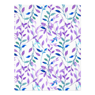 Watercolor Purple leaf Pattern Letterhead