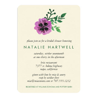 Watercolor Purple Pansy Bridal Shower Card