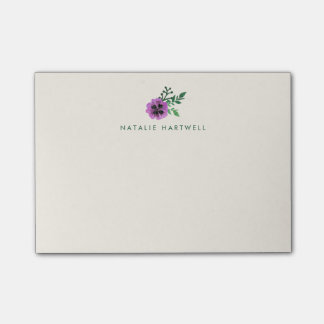 Watercolor Purple Pansy Personalized Ivory Post-it® Notes
