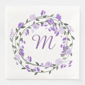 Watercolor Purple Peony Monogram Wreath Paper Dinner Napkin