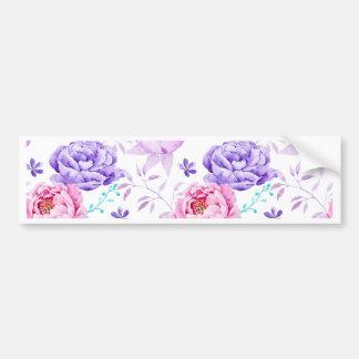 Watercolor Purple Peony Pattern Bumper Sticker