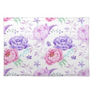 Watercolor Purple Peony Pattern Placemat