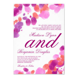 Watercolor Purple Pink Coral Wedding Invitations