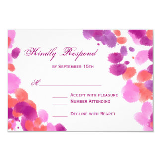 Watercolor Purple Pink Coral Wedding RSVP Cards