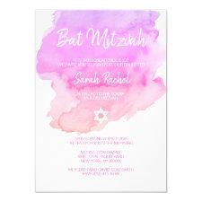 Watercolor Purple Pink Peach Star BAT MITZVAH Invitation