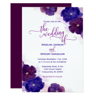 Watercolor Purple Plum Royal Blue Floral Wedding Card