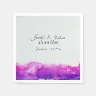 Watercolor Purple Plum Violet Grey Wedding Paper Napkin