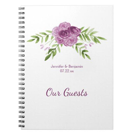 Watercolor Purple Roses Greenery Guest Book