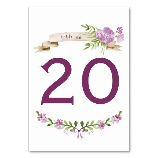 Watercolor Purple Roses Greenery Table Numbers
