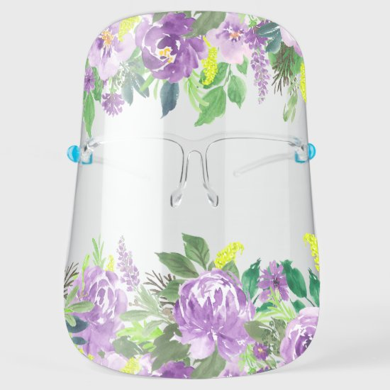 Watercolor Purple Roses Peonies Floral Face Shield