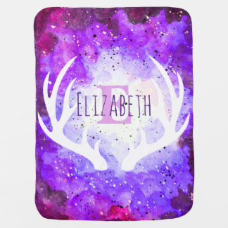 Watercolor Purple Space Nebula White Deer Antlers Swaddle Blanket