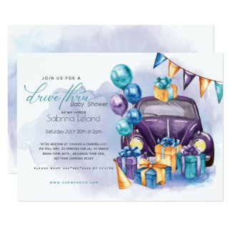 Watercolor Purple Teal Drive-Thru Baby Shower Invitation