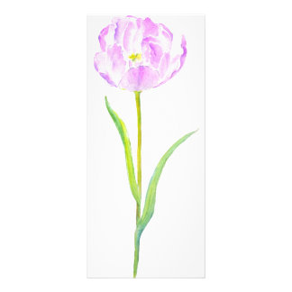 Watercolor Purple Tulip Mini Book Mark Rock Card Custom Rack Cards