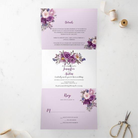 Watercolor Purple Violet Floral Wedding   Tri-Fold Invitation