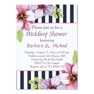 Watercolor purple violet flowers Wedding Shower Card