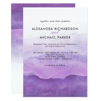 Watercolor Purple Waves | Wedding Invitation