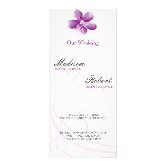 Watercolor Purple Wedding Program Card Personalized Rack Card