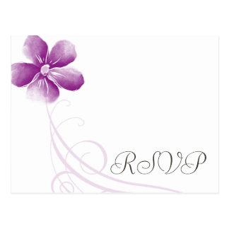 Watercolor Purple Wedding RSVP Postcards