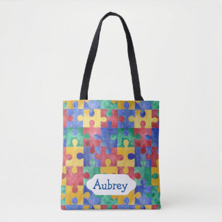 Watercolor puzzle for Autism awareness Tote Bag