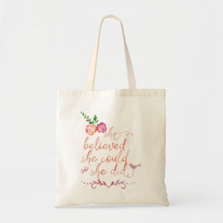 Watercolor Quote She Believed She Could So She Did Tote Bag
