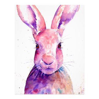 Watercolor Rabbit Hare Portrait Letterhead