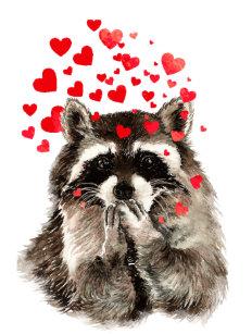 Watercolor Raccoon Blowing Kisses Cute Animal Art Shower Curtain
