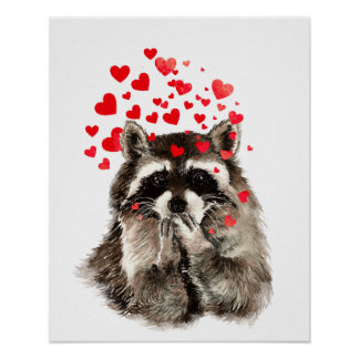 Watercolor Raccoon Kisses Funny Love Hearts Poster